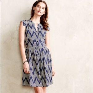 Anthro 11-1-TYLHO Sz L Shirt dress blue motif navy